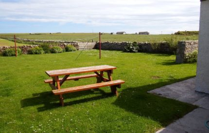 Large garden with picnic bench and glorious views
